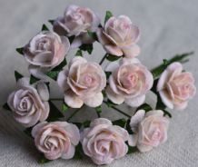 1.5cm PALE BABY PINK Mulberry Paper Roses